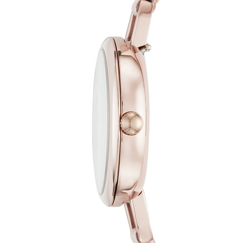 Annette Three-Hand Pastel Pink Leather Watch