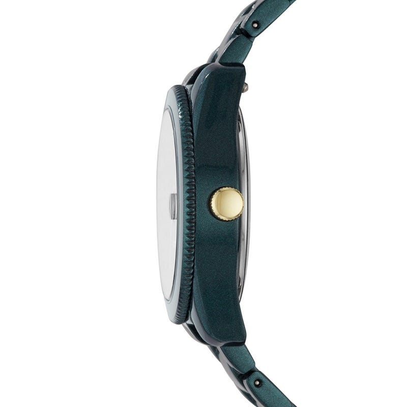 Scarlette Three-Hand Date Teal Green Stainless Steel Watch